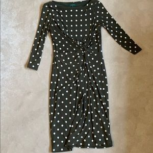 Green polka a dot dress